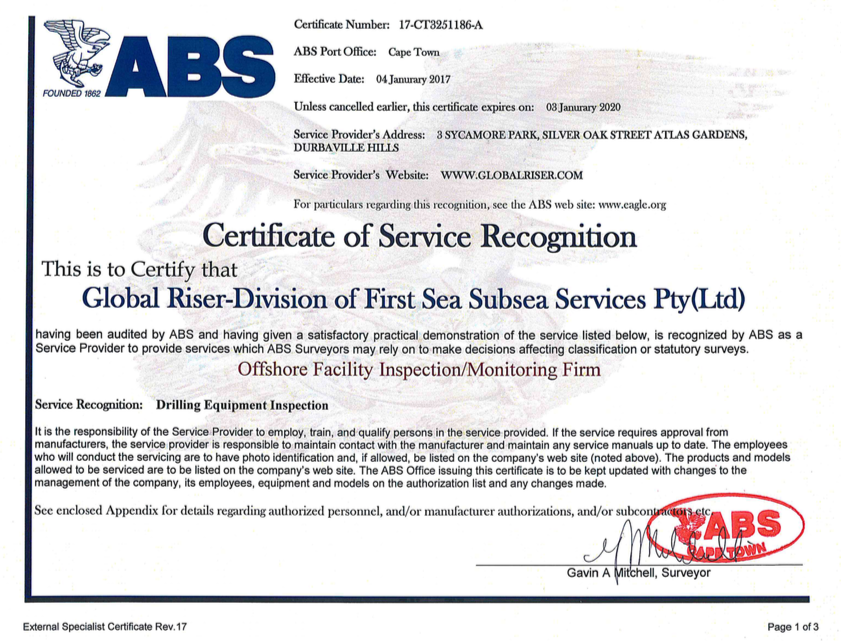Global Riser becomes certified by ABS as a Drilling Equipment ...